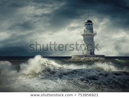 Stok fotoğraf: Lighthouse With Dark Storm Clouds