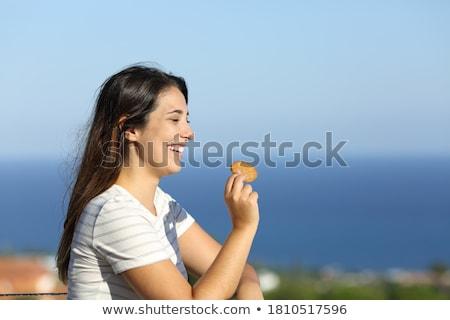 Donna mangiare sano verde formaggio cena Foto d'archivio © photography33