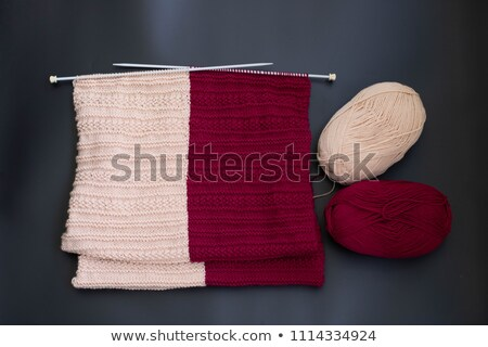 scarf on knitting needles with a ball of wool stock photo © sarahdoow