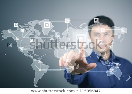 Businesswoman touching social network icons on virtual display stock photo © HASLOO