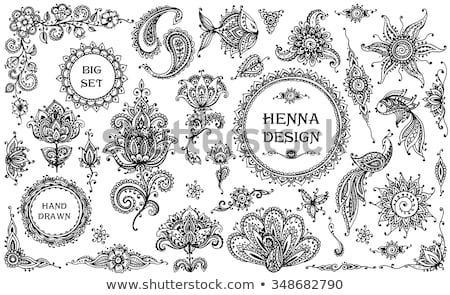 Henna keret részletes kézzel rajzolt terv szövegdoboz Stock fotó © artplay