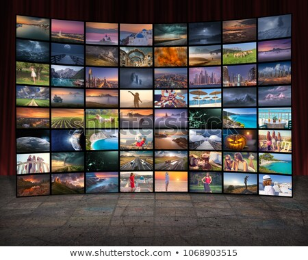 futuristic tv video news digital screen wall stock photo © lunamarina