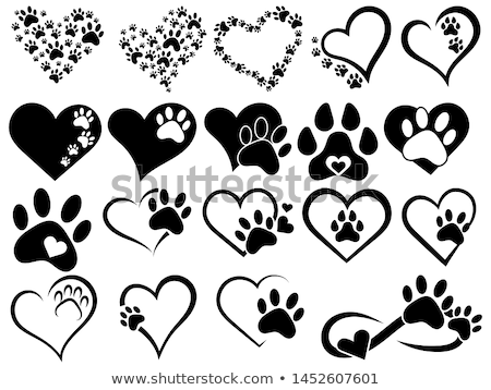amour · patte · chien · coeur · design · fond - photo stock © burakowski