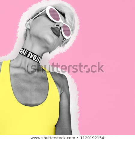 Colagem menina óculos de sol retrato Foto stock © Andersonrise