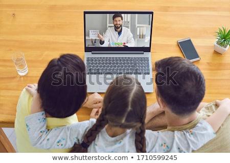 Medic laptop odizolowany biały szczęśliwy szpitala Zdjęcia stock © Kirill_M