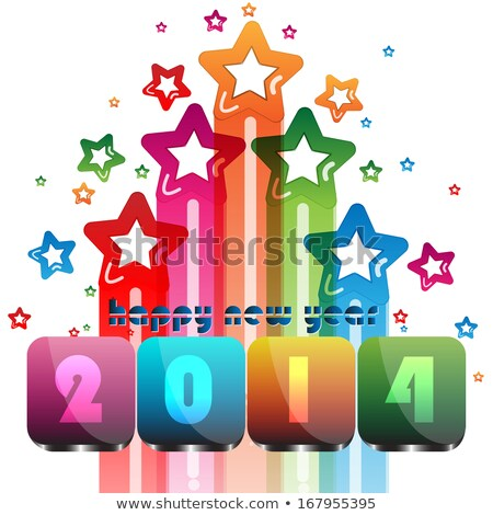 new year for shiny 2014 bright colorful card brochure template stock photo © bharat