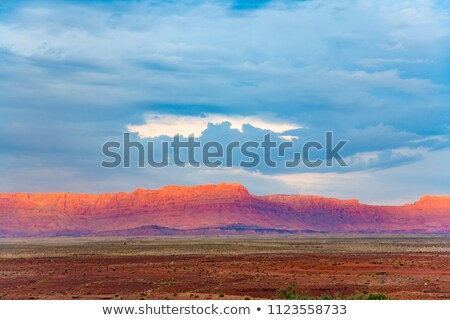 赤 · 美しい · 画像 · 日没 · 岩 - ストックフォト © meinzahn