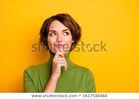 Photo stock: Heureux · pense · belle · femme · souriant · mains · pliées
