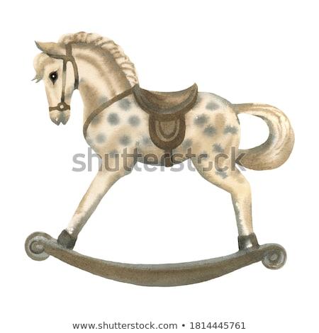 isolé · bois · cheval · blanche · jouet · rétro - photo stock © songbird