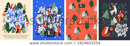 Christmas herten vector ornamenten sneeuwvlokken abstract Stockfoto © beaubelle