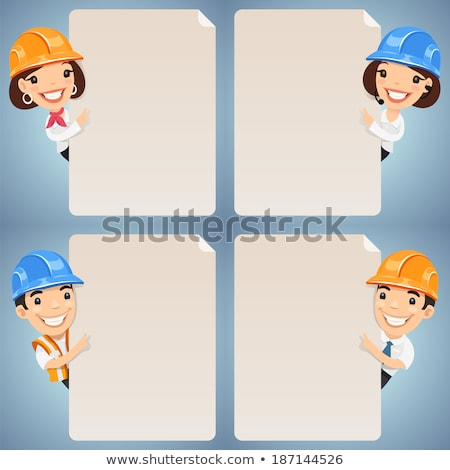 foremen cartoon characters looking at blank poster set stock photo © voysla