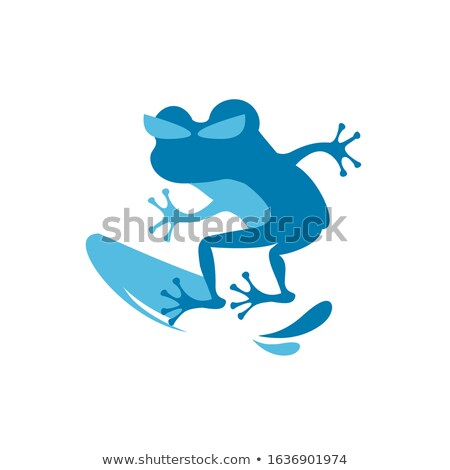 Funny frog with surf on the beach Stock photo © sognolucido