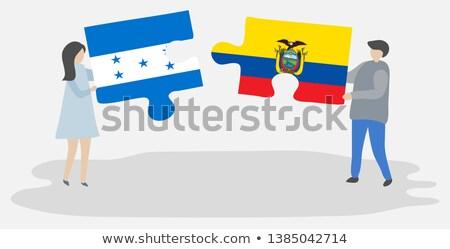 Honduras Ecuador zászlók puzzle izolált fehér Stock fotó © Istanbul2009