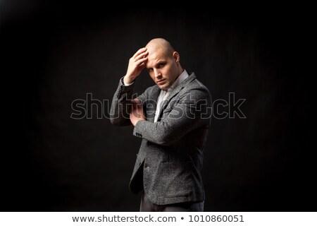 enojado · calvo · hombre · traje · completo · barbado · empresario - foto stock © madebymarco