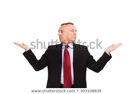 Senior man showing product with open hand palm Stock photo © bmonteny