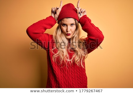 Kadın boynuz iki cinsel kırmızı yalıtılmış Stok fotoğraf © 26kot