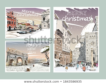 Stock photo: set of christmas postage stamps