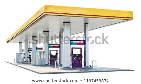 Foto stock: Gasolinera · coche · aislado · blanco · fondo · urbanas