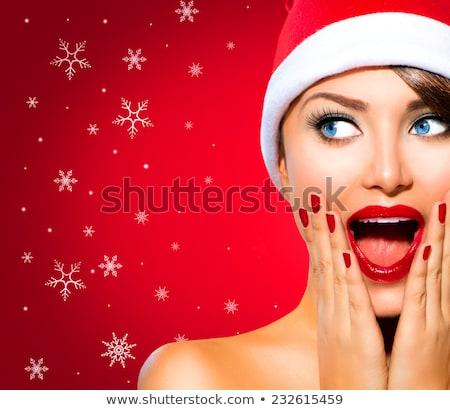 驚いた · 少女 · 赤 · 帽子 · 孤立した · 白 - ストックフォト © peterpolak