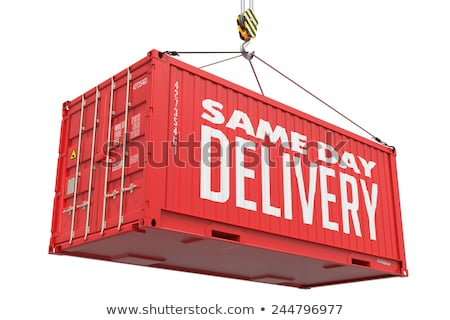 Stock fotó: Same Day Delivery - Red Hanging Cargo Container