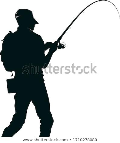 Pescador silhuetas pessoa vara de pesca vetor Foto stock © Slobelix