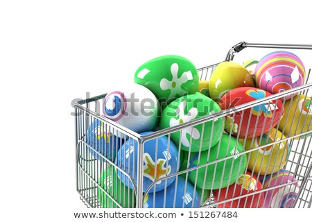ショッピングカート · イースターエッグ · バニー · 孤立した · 白 · カップル - ストックフォト © compuinfoto