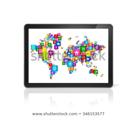 laptop with world map made of clouds on screen stock photo © artjazz
