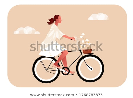 young beautiful elegantly dressed woman with bicycle outdoor stock photo © vlad_star