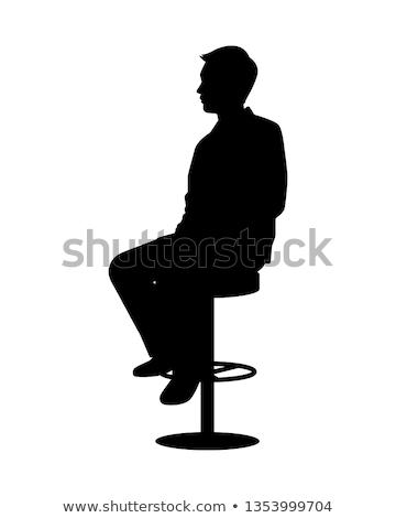Fiatal divat férfi ül zsámoly portré Stock fotó © feedough