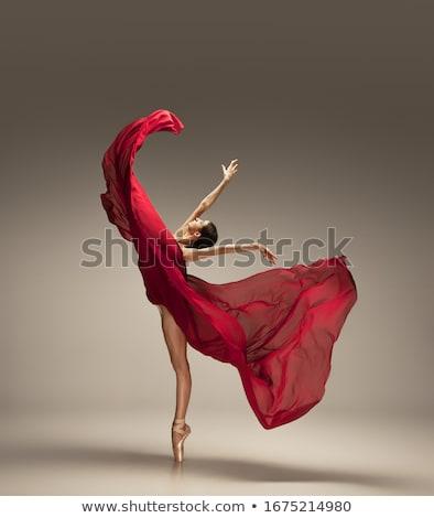 naranja · vientre · bailarín · mujer · baile · vestido - foto stock © novic