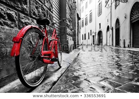öreg · fekete · bicikli · fém · keret · bicikli - stock fotó © mariephoto