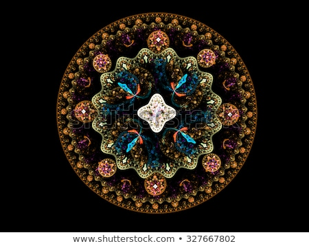 Illustration fractal gold brooch with pink precious stones Stock photo © yurkina