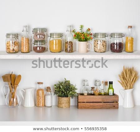 Сток-фото: Jars On The Kitchen Shelf