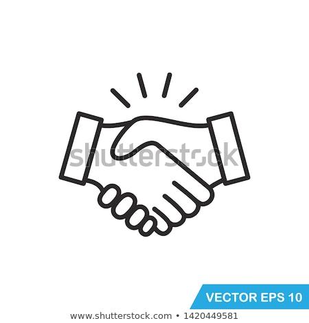 рукопожатие стилизованный язык жестов бизнеса стороны заседание Сток-фото © tracer