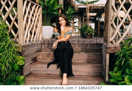 нежный женщину терраса кровать лист сидят Сток-фото © Anna_Om