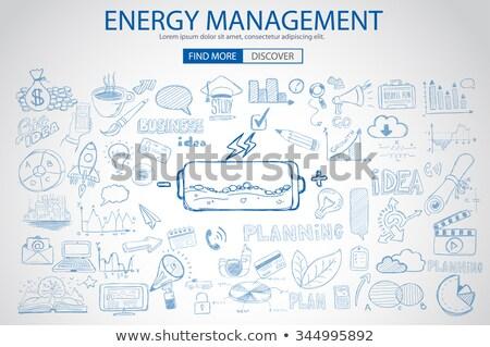 Energy management with Doodle design style :power savings, optimization process, creative thinking.  Stock photo © DavidArts