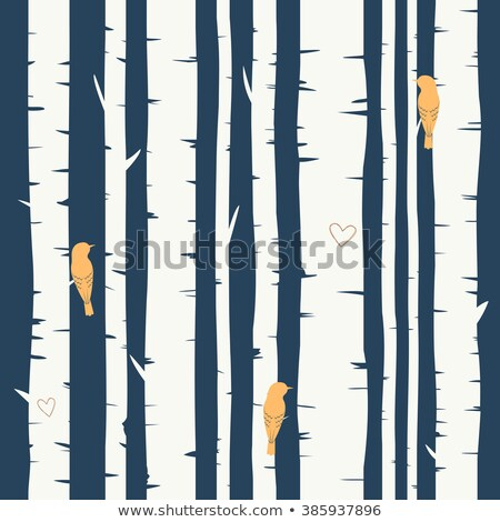 vector seamless repeating pattern with birds and birch tree stock photo © freesoulproduction