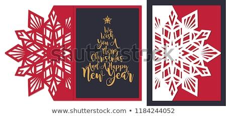 neşeli · Noel · yılbaşı · yaprak · etiket · star - stok fotoğraf © morphart