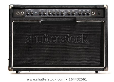 Stock photo: black musical guitar amplifier panel