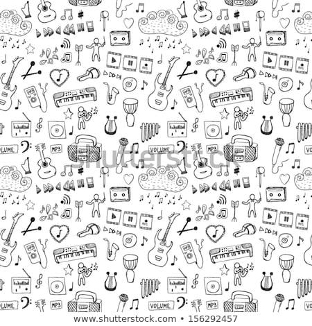 Stock fotó: Végtelen · minta · zene · firkák · szimbólumok · eps · 10