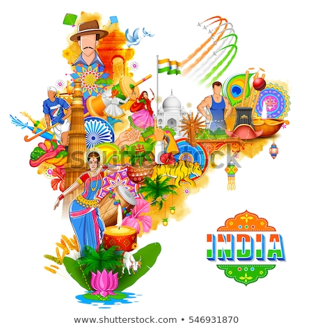 India · ilustración · alrededor · rueda - foto stock © vectomart