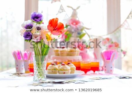Stockfoto: Pasen · cake · Rood · plaat · ring · marmer