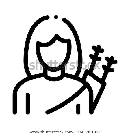 лучник подготовки лук линия икона уголки Сток-фото © RAStudio