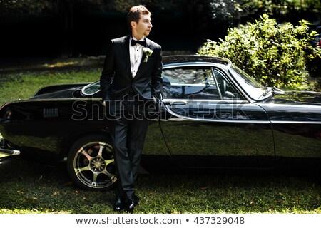 Sério noivo carro jovem homem bonito Foto stock © artfotodima