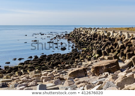 Helgoland sea breakwater, wavebreaker Stock photo © artush