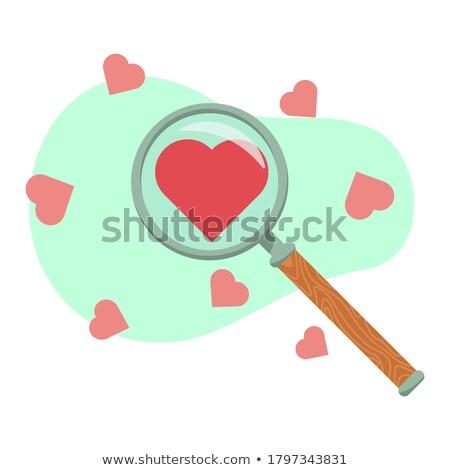 kırmızı · kalp · büyüteç · arama · sevmek - stok fotoğraf © devon