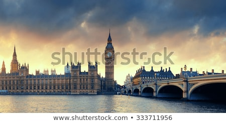 London, UK panorama. Big Ben in Westminster Palace on River Thames at sunset Stock photo © photocreo