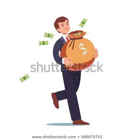 mosolyog · üzletember · táska · pénz · rajz · stílus - stock fotó © natalya_zimina