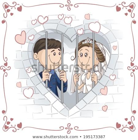 Friss házasok menyasszony vőlegény ifjú pár keret forma Stock fotó © orensila