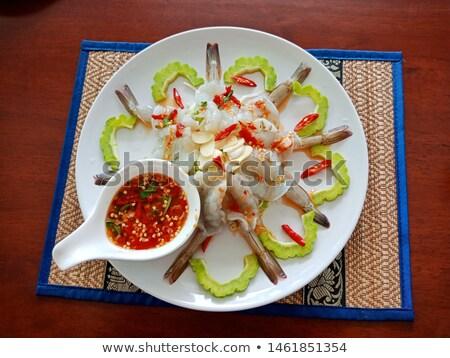 Piccante salsa ciotola pelati rosso piatto Foto d'archivio © Digifoodstock